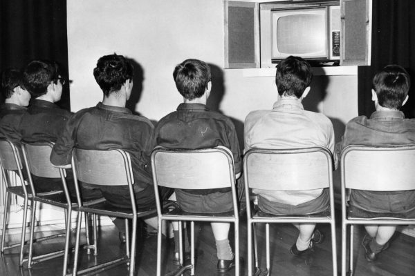 Boys at Rossie watching tv 1960