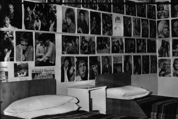 Rossie bedroom with posters of bands on the walls 1960s