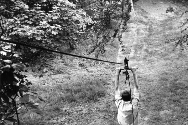 Zip-lining at Rossie in 1970s-2