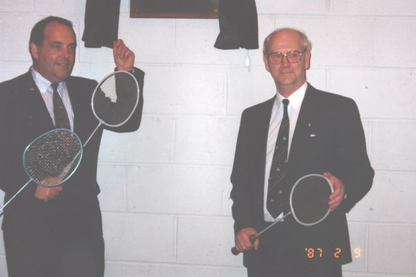 Rossie staff with badminton rackets 1980s-6