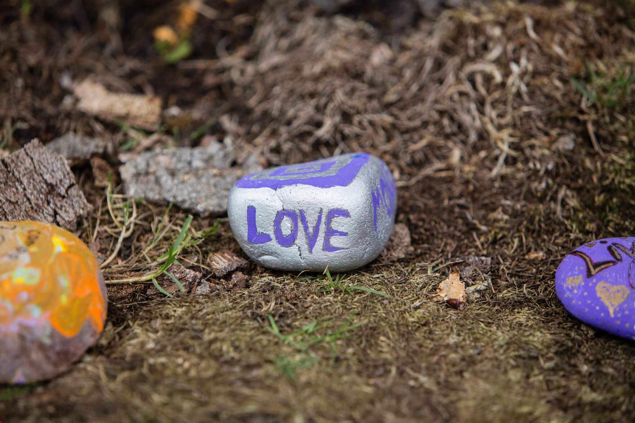 stone with love written on it