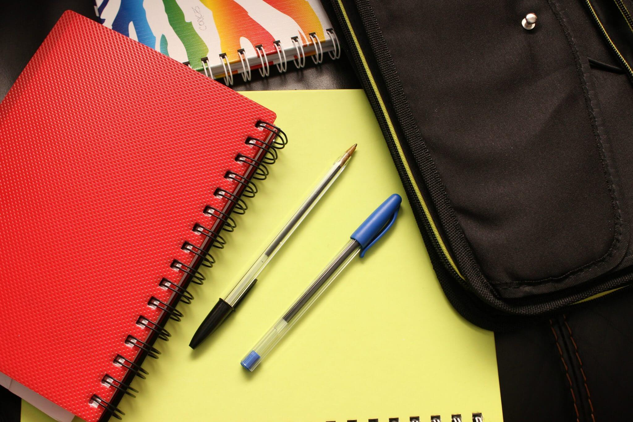 school books and pens